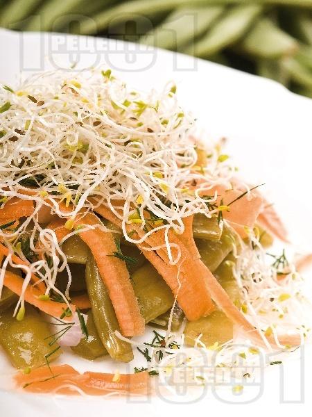 Салата със зелен фасул (зелен боб), моркови и кълнове - снимка на рецептата